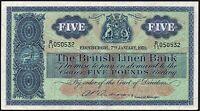 1959 BRITISH LINEN BANK £5 BANKNOTE * R/11 050532 * VF+ *