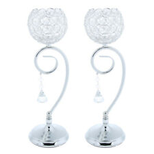 MagiDeal Crystal Wedding Tea Light Candle Holder Candlestick Cup Silver 2Pcs