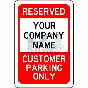 Reserved Customer Parking Only Red and Black - aluminum sign