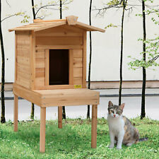 Cat House with A Platform Open Balcony Log Cabin for Small Pet Cat Natural Wood