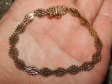 "14K YELLOW  "" IMPERIAL GOLD "" DIAMOND SHAPE / CUT RICCO LAME LINK BRACELET 7 1/8"