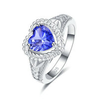 Wedding Heart Cut Tanzanite & White Topaz Gemstone Silver Ring Size 6 7 8 9 New