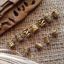 11 x Brass Dreadlock Beads 4-6mm Hole Gold Tone Tubes Beard Rings Dread *NEW* Uk