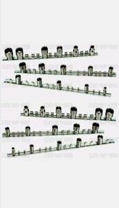 "3 Piece 42 Socket Rack Storage Rail Tray Set Shallow Deep 1/4"" 3/8"" 1/2"" CT3797"