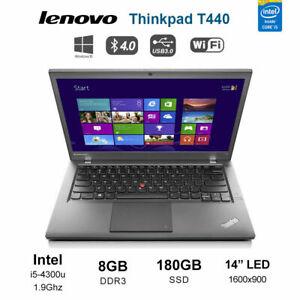 """Lenovo ThinkPad T440 14"""" Laptop i5 4300u 1.9GHz 8GB 180GB SSD HD+ 1600x900 Win10"""