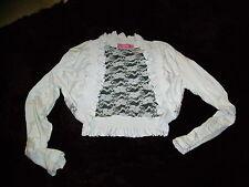 white size s/m 10 /12 stretchy lace back cardi wrap bolero shrug top VGC! women