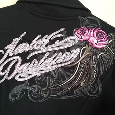 Harley Davidson Women's Med. Pink Black Full Zip Heavy Cotton  Moto Embroidered