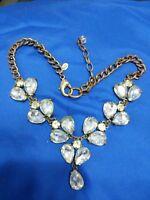 "Leslie Danzis white rhinestone brass tone 18"" x 1 3/4"" dangle necklace"