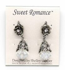 SWEET ROMANCE Wild Rose and Crystal Bronze Silver Dangle Earrings 1 3/4""