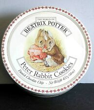 "Peter Rabbit Empty Metal Tin Cookies Bunny Beatrice Potter Design 7.5x3"" Free Sh"
