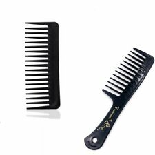 2 Types Portable Black Wide Tooth Comb Black ABS Plastic Heat Resistant Large