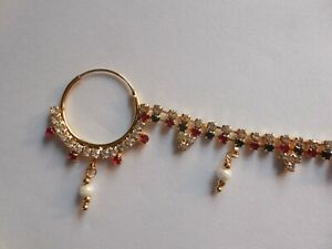 Wedding Nose Ring With Chain Hoop Indian Nath Piercing Bridal Fashion Jewelry