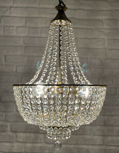 Antique Vintage Brass & Crystals Empire Chandelier Lighting Ceiling Lamp Light