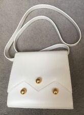 PALOMA PICASSO WOMEN'S WHITE LEATHER SHOULDER BAG GOLD TRIM EXCELLENT
