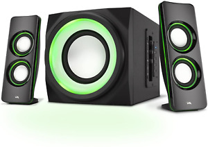 Cyber Acoustics Bluetooth Speakers with LED Lights Multimedia 2.1 Subwoofer