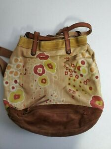 Lucky Brand Vintage BACKPACK Purse Floral Yellow Tan Canvas Brown Suede