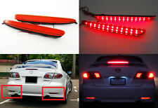 2x For 03-08 Mazda6 Atenza Red Lens LED Bumper Reflector Tail Brake Stop Light