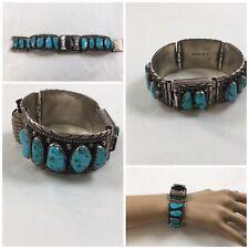 Silver Sleeping BeautyTurquoise Watchband Vintage Navajo Esther Spencer Sterling