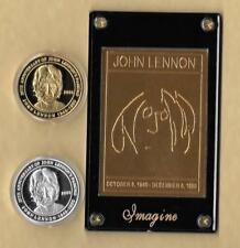 23 Kt Gold John Lennon Gold Card Beatles SILVER & GOLD COINS IMAGINE COA