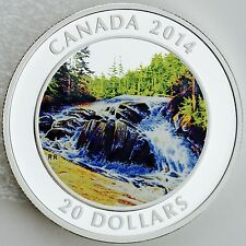 2014 $20 River Rapids 1 oz Pure Silver Proof Coin Water Effect Colorization