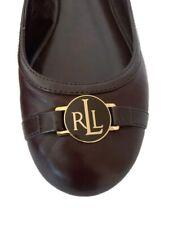 Ralph Lauren Flats Women's Shoes 10B Brown Gold Emblem