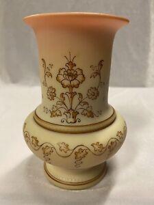 Antique Rare Thomas Webb Queens Burmese Glass Vase w/ Persian Floral Pattern