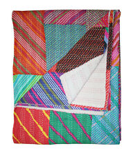 New Multi Patchwork Kantha Quilt Bedspread Kantha bed Cover Kantha BeddingKing