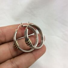 Beautiful Sterling Silver  925 10K Hoop earrings
