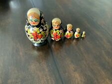5 Pieces Black Strawberry Floral Design Mini Russian Wooden Nesting Doll Set