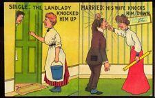 Vintage Comic Postcard: Landlady, Wife - both Domineering! Bucket, Rolling Pin