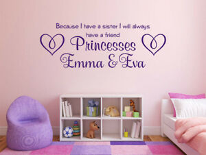 """Personalised Wall Quote """"Because I have a sister..."""" Vinyl Sticker Mural Decal"""