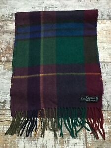 Men's 100% CASHMERE Burgundy / Multi Checked Scarf
