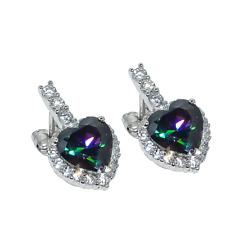 Heart - Rainbow Mystic Topaz, Genuine 925 Silver Earring Stnd. Sl-3937