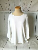 Travelers Chico's Women's White Striped Cape Style Top Size 2 (XL)