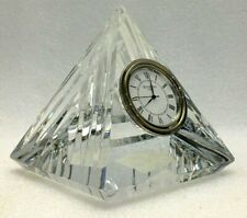 """Waterford Crystal Pyramid Desk Clock 4"""" Paper Weight Table Heavy Glass Ireland"""