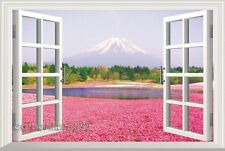 XLarge 3D Window View Cherry Blossom Fujisan Mountain Wall Stickers Home Decor