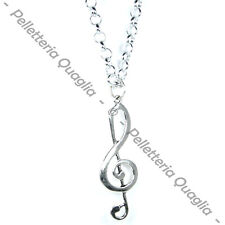 Treble Clef Necklace Pendant Jewelry Chain Silver Charm Woman Fashion Man Music