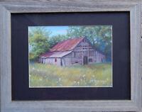 "Original Barn Painting by Tanja Ware, Landscape, Pastel, 16""x12"" Framed w/mat"