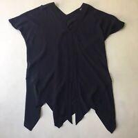 Willow Asymmetrical Handkerchief Hem Top V Neck Short Sleeve Sz S