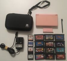 Nintendo DS Lite Coral Pink Console/ Case/ 16x Game/ Power Adapter Bundle Joblot
