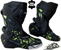 MENS HiViz CAMO SPEED MAXX MOTORBIKE MOTORCYCLE CE RACING LEATHER SHOES BOOTS