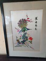Chinesische Seide gesticktes Vogel/Blumen Motiv Bild Signiert 49×53cm