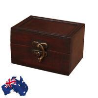 AU Wooden Vintage Treasure Chest Wood Jewellery Storage Box Case Organiser Ring