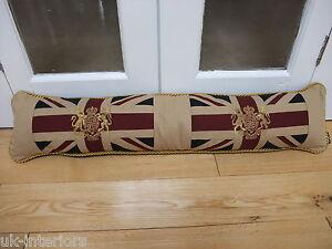 "Vintage Royal Crest Union Jack Flag Draught Excluder 36"" Crown and Lion Unicorn"