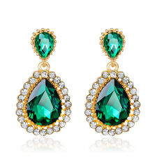 Water-drop Vintage green crystal rhinestone dangle Women wedding Gentle Earring