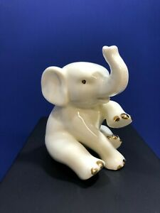 Lenox White Porcelain Sitting Elephant Small Figurine with Gold  Raised Trunk