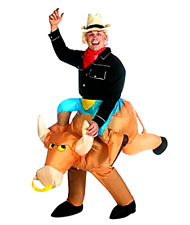 Inflatable Bull Rider Costume Cowboy Rodeo Bronco Carnival Party One Size