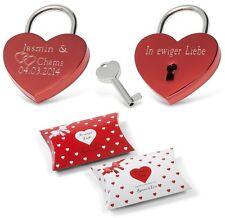 Herz Liebesschloß ROT + GRAVUR Valentinstag Weihnachten Geburtstag Geschenk Idee