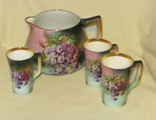 Antique Porcelain Hand Painted USONA 4 Pc. Lemonade Set - Early 1900's