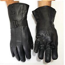 lange  Herren Lederhandschuhe Winter Samtweiches Leder Handschuhe Schwarz